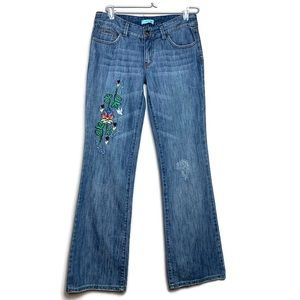 Boho Jeans Low Rise Flare Embroidery Distressed